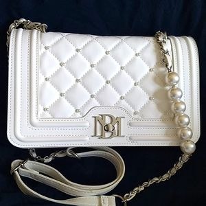 Badgley Mischka Quilted Pearl Crossbody White Bag